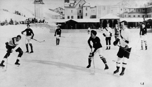 Lester Pearson playing ice hockey in Europe while in Oxford University (Pearson is pictured in the front right).