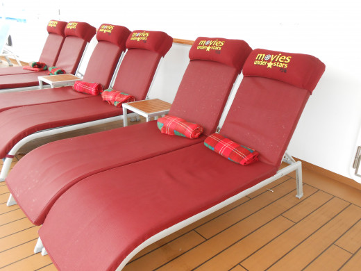 Seats set up for Movies Under the Stars on the Royal Princess.
