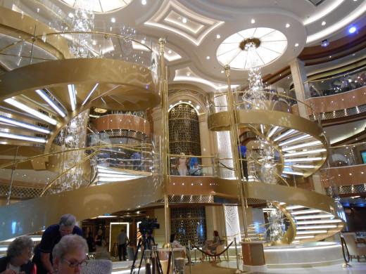 The beautiful atrium on the Royal Princess.