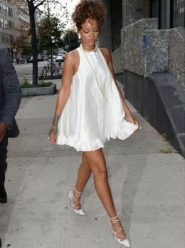 Rihana Wearing a Babydoll Dress