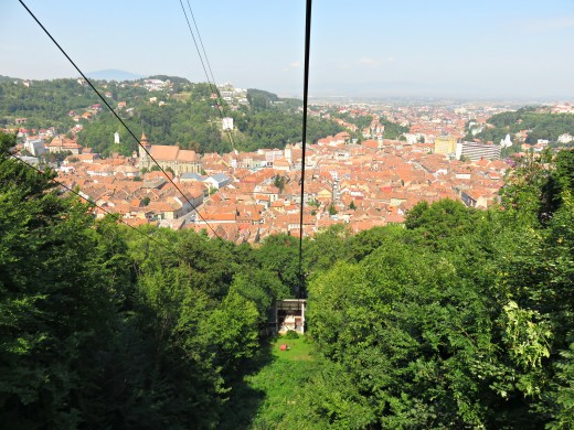 View of Brașov, Transylvania from the cable car.