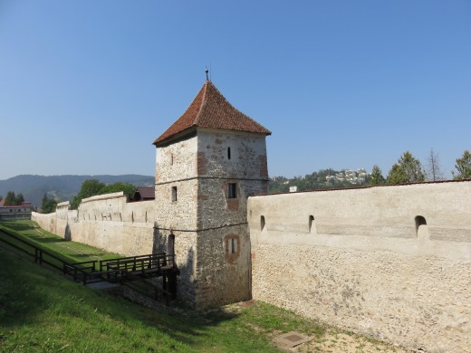 The medieval city walls in Brașov, Transylvania.