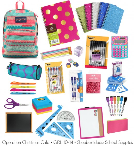 school supply ideas for a 10 14 girl operation christmas child shoebox