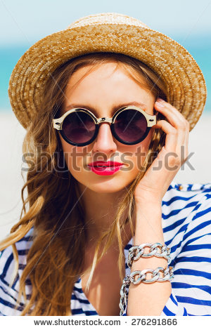 Pretty Blonde Lady In Straw Hat