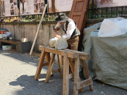 Local craftsman in the historic city of Sibiu, Romania
