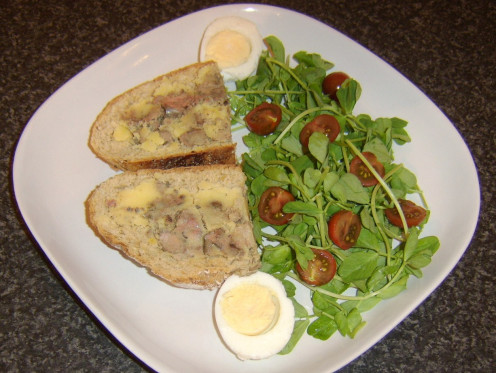 Chunky chicken liver pate on toast with salad