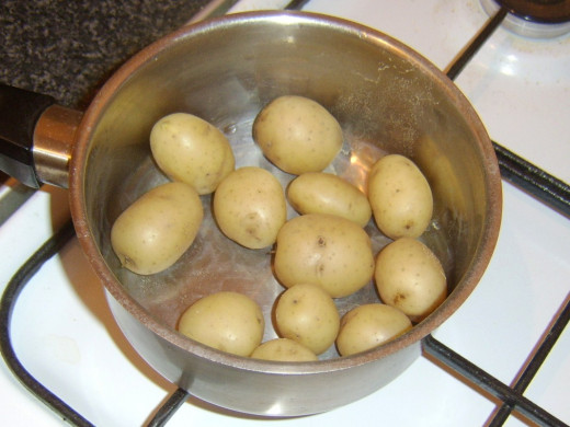 Potatoes have to be cooked by boiling, drained and cooled
