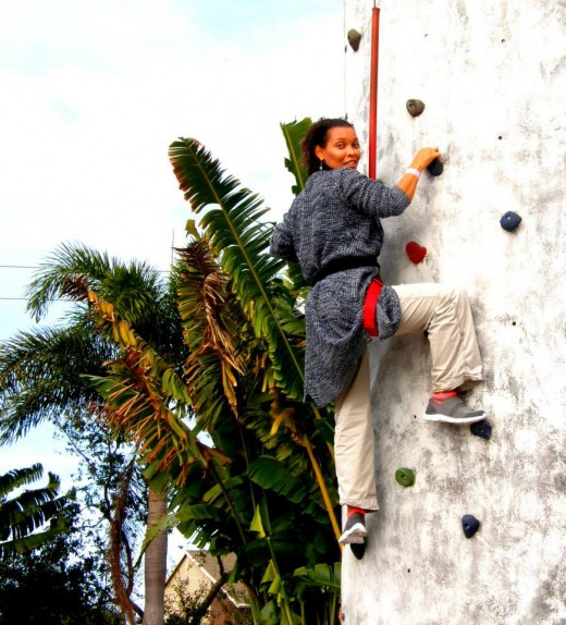 The author, practicing at rock-climbing
