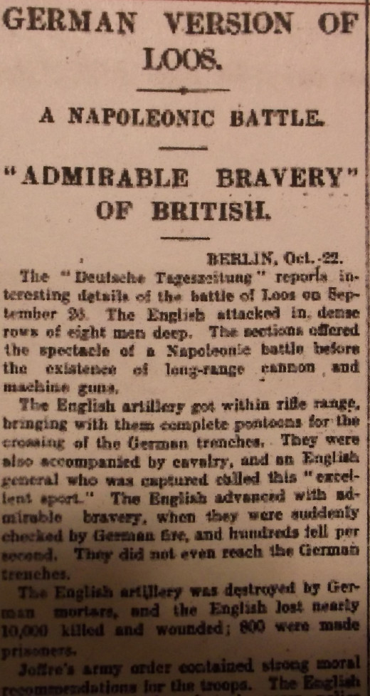 The London newspaper prints the German article on the Battle of Loos, generally considered one of the bloodiest battles of the war.