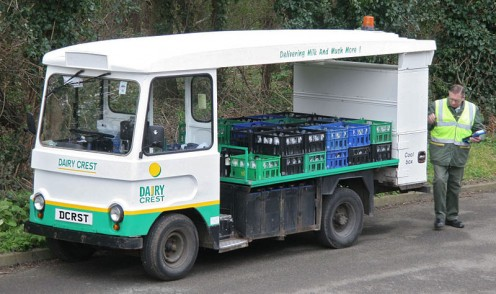 Traditional British Dairy Crest electric milk float.