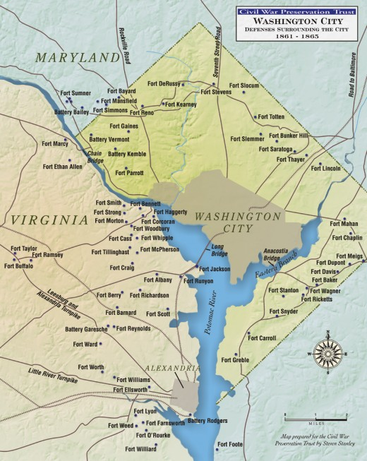 Location of forts around Washington during the civil war