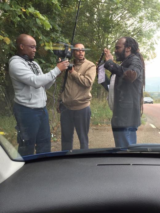 "On location, filming ""Breakdown"", Gateshead."