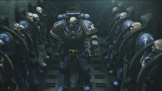 """Captain Severus briefs his squad in """"Ultramarines"""""""