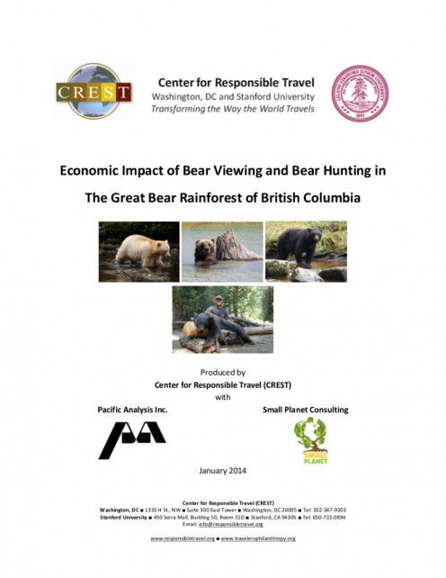 Picture of front cover, ECONOMIC IMPACT OF BEAR VIEWING AND BEAR HUNTING ... by Center for Responsible Travel (2014).