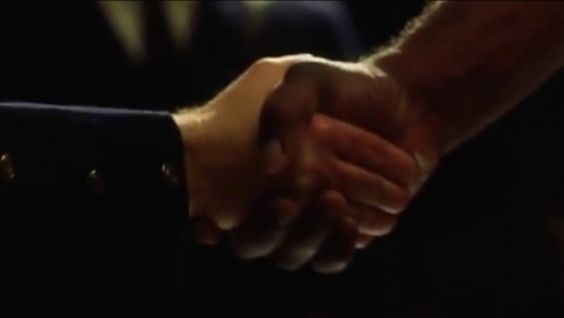 The consistent use of the handshake reveals a message of the call to be connected with God or Jesus to achieve illumination of the truth