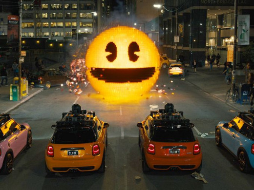 "Pacman prepares to face the ghosts in ""Pixels"""
