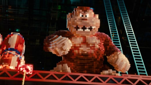 "Donkey Kong prepares to take on the protagonists in ""Pixels"""