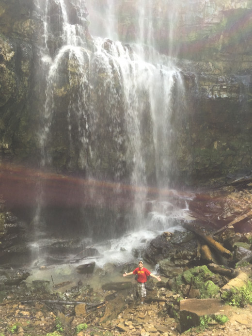 I am at the base of Virgin Falls, a refreshing place to be after the hike in getting there