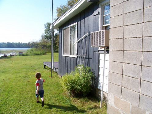 The author's son at the family cabin on Little Rice Lake.