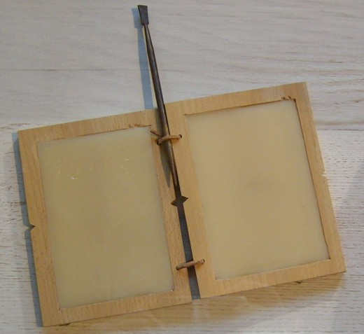 A Roman tabula, this one made of wax. Literally a blank slate.