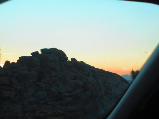Boulders and sunset in Joshua Tree National Park.