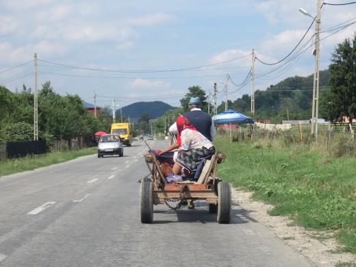 When driving around Transylvania, expect horse drawn carts.