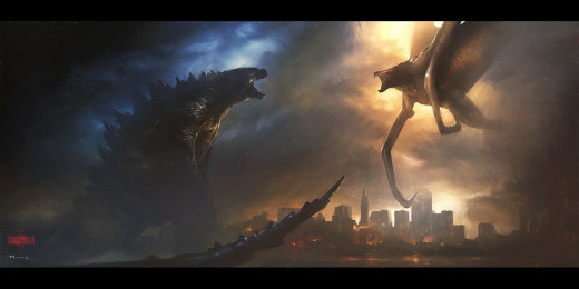 "Godzilla battles the Mutos in ""Godzilla"", 2014"