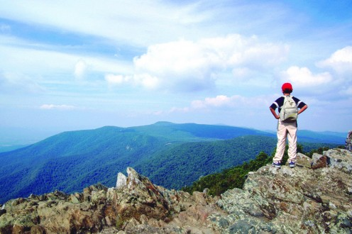 View of Shenandoah Valley from Hawksbill Mountain, the highest peak in Shenandoah National Park.
