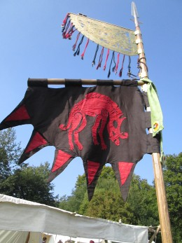 The Hildsvin banner takes the afternoon breeze before the Normans show up on the hill