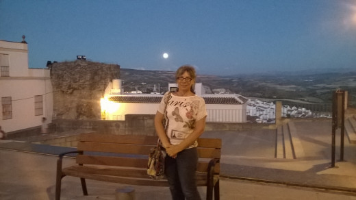 A friend took this photo of me with my Lumia phone. It was twilight in Olvera. Spain. 8/2015