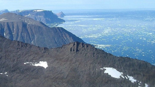 Baffin Island's forbidding coast and cliffs. This shore was the first the explorers saw on their southward exploration towards the mouth of the St Lawrence and Anse aux Meadows
