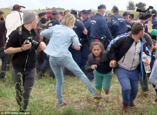 Hungarian Camerawoman Kicking Young Migrant Girl