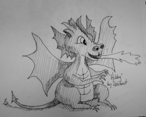 "This is Professor Hiigelsby's pet Dragon ""Hibby"""