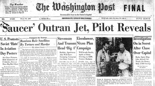 The front page of the Washington Post after the second weekend of UFO incidents.