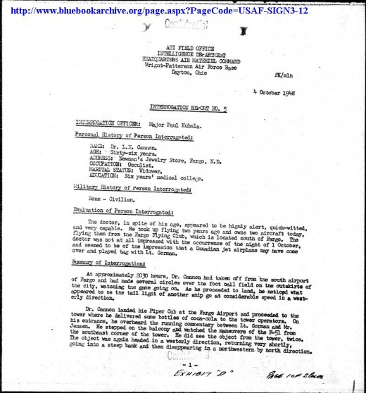 A military document showing the summary, and confirmation, of the UFO in the Gorman dogfight by an independent aviator and doctor.