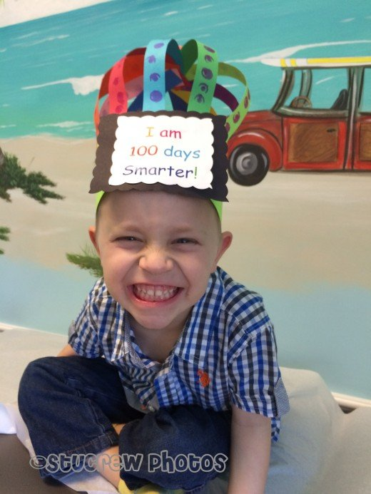 Silly boy - Wanted to show off the hat he made at school to his doctor. I love that my kids love their doc.