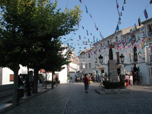 In the Main Square dressed with buntin for the fiesta
