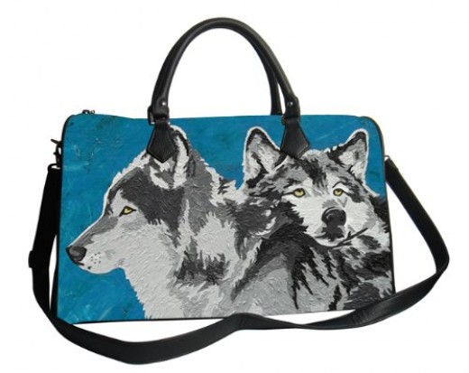 some of the other wildlife print-- wolf print vegan leather handbag