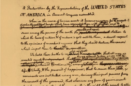 Declaration of Indeopendence with Fraanklins notations.