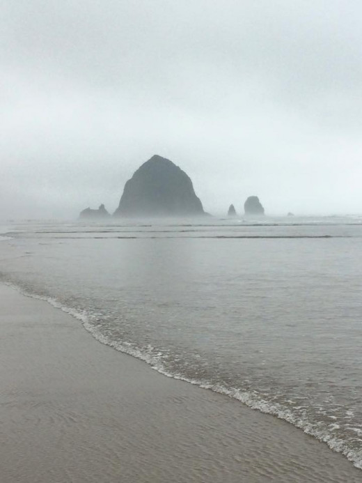 Cannon Beach on a foggy morning in early Spring