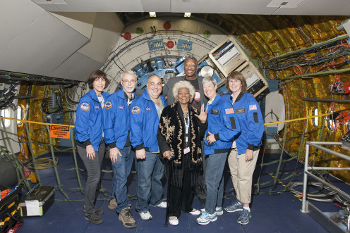 SOFIA flight, 2015: Susan Oltman, Michael Shinabery, Jeffrey Killebrew, Nichelle Nichols, April Whitt and Jo Dodds. In the back is Ivor Dawson.