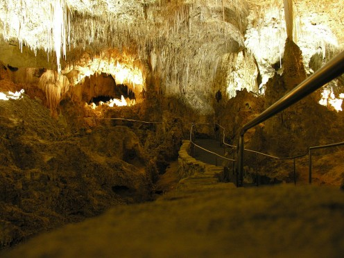 The walkway leading to the bottom of Carlsbad Caverns