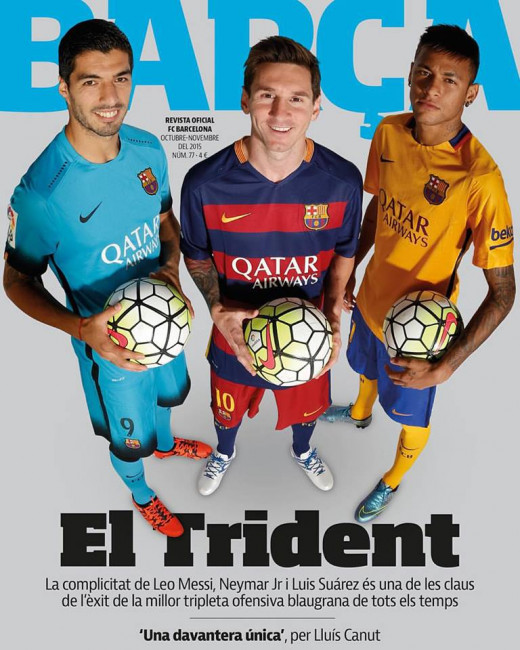 MSN featuring in the Barca magazine