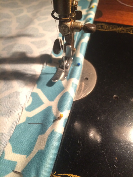 Pedal stitching along the edge of cord