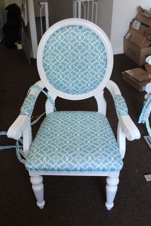 Chair with new fabric but no trim