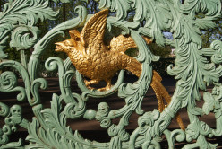 A closeup of the ornamentation on the Bandstand in Brussels Park.