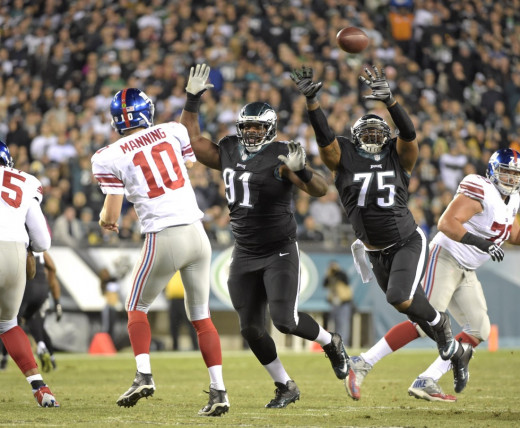 Philadelphia Eagles DE Fletcher Cox (91) will be after NY Giants QB Eli Manning all night.