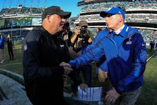 Philadelphia Eagles head coach Chip Kelly (L) and NY Giants head coach Tom Coughlin (R)