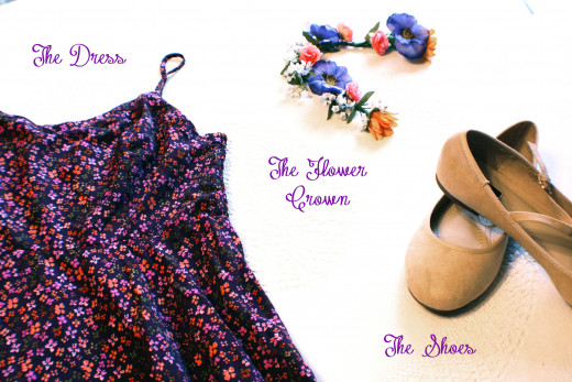 The three main components of my Rapunzel costume: the dress, the flower crown, and the shoes.