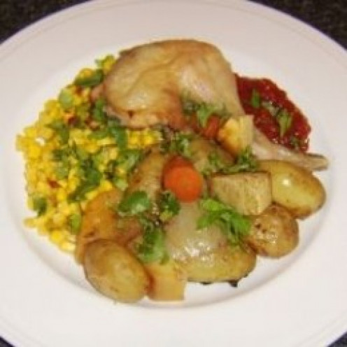 Roast chicken and assorted root vegetables